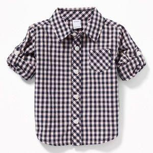 NWT Old Navy Poplin Roll-Sleeve Button Down Shirt
